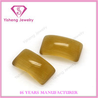 Brown Polishing Curved Cateyes Glass Stone for Ring