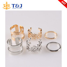 Female Punk Polish Gold Silver Stack Plain Cuff Midi Ring Mid Finger Knuckle Ring Set Anel Feminino wholesale /