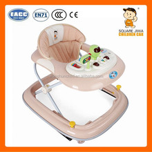 818C baby walker with safety belt and button 4 big wheels