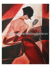2014 Brunette Abstract Beauty Woman Girl Black Blouse Oil Painting