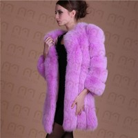 MBA Furs FC-021 Women Pink Purple Genuine Fox Fur Coat