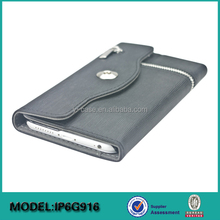 Zip leather wallet case for iPhone 6 or for iPhone 6 plus, mobile phone accessories wholesale case