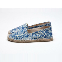 new arrival hot selling dubai shoes lady flat espadrilles china blue and white porcelain print canvas shoes