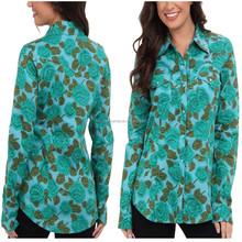 China Custom Allover Floral Pattern Long Sleeve Shirt Ladi