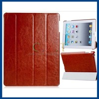 Quad-Fold Design Faux Leather Case for iPad 4/iPad2/The new iPad (Brown)