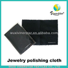 black microfiber polishing cloth with zigzag edge packed in paper bag
