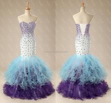 Sweetheart Crystal Beaded Organza Ruffle Mermaid Evening Dresses China ME012
