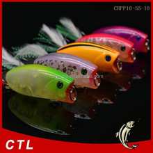 Chentilly03 fishing minnow lure 55mm 10g 3D eyes popper bait Feather three anchor hook refecting laser fishing lures