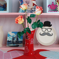 heart shape Valentines' day flower vase rose flower painting designs