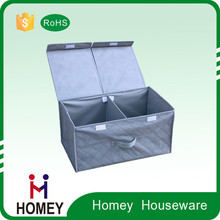 Brown color foldable fabric storage box with lid for home orgainzer