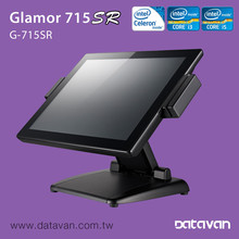 """Glamor 715SR 15"""" Slim, Bezel-free, IP65 Touch POS System with Retail I/O, RAID, Height-adjustable Stand"""