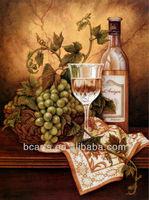 Handmade Still Life Oil Paintings Fruit Green Grape and Wine Glass