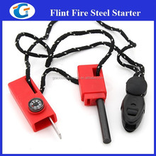 Camping Flint Survival Lighter Striker Fire Kit with Compass Whistle