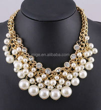 Latest design pearl necklace Multilayer pearl diamond necklace N0137