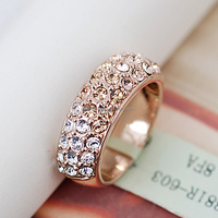 V019881R Elegant Crystal Opal Rings Zinc Alloy 18K Rose gold Platinum Plated With import cyrstal Opal Fashion Jewelry Wholesale