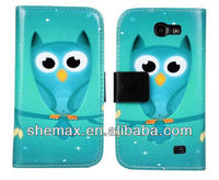 300 PCS Owl Cell Phone accesories wallet Cover stand Flip Case for Samsung Galaxy Express i8730