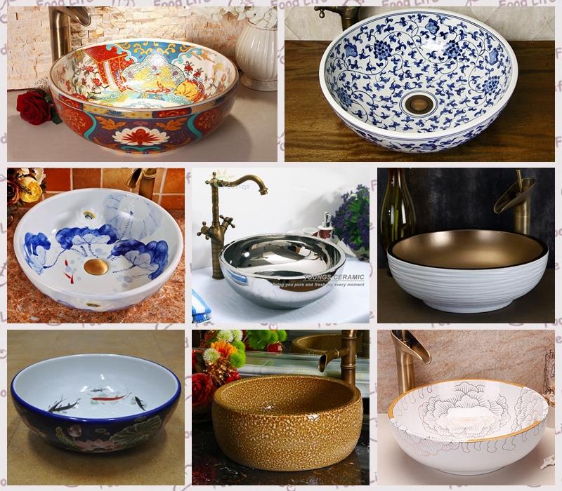 Jingdezhen peint la main bleu et blanc porcelaine en for Lavabo ceramique ou porcelaine