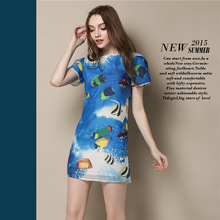 New summer fashion boutique fashion 3D underwater world printed short-sleeved dress Slim women casual dress in floral print