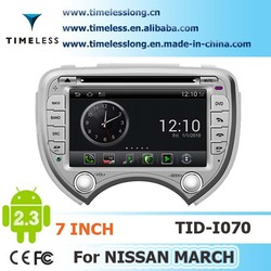 Android system 2 din Car DVD player for Nissan MARCH with GPS Ipod DVR digital TV box BT Radio 3G/Wifi(TID-I070)