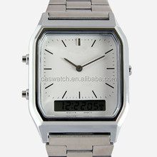 2015 Special double movement watches for men 2 time zone gent watch dual quartz and digital watches