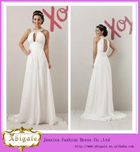 Venta caliente Blanco cabestro con cuentas sin respaldo vestidos de novia de gasa imperio griego elegantes (QU0615)