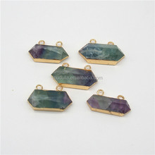 P15061819 Gold Plated Fluorite Quartz Point Pendant.Double Bail Fluorite Pendant