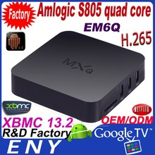 2015 best selling smart media player support skype with video chat android tv box EM6Q MXQ plastic