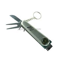 Divot Repair,Marker,Brush,pen,ball marker,All-in-One Key Ring Golf Tool Pocket Knife