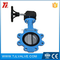 doctile/cast iron resilient seat cast iron full lug type butterfly valve water use low price