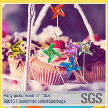 Party supplies type coloured windmill picks decoration
