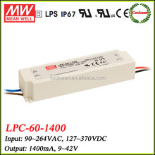 Meanwell constant current led power supply LPC-60-1400