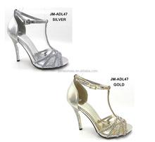 Gold high heel diamonds heel dress shoes shinny fashion sexy evening shoes for women