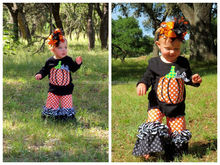 new arrival boutique thanksgiving day children festival clothing sets baby girls halloween pumpkin shirts outfits sets