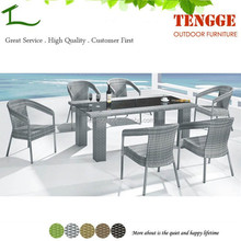 TG15-0096 Hot sale outdoor furniture grey rattan dinner set for 6 people