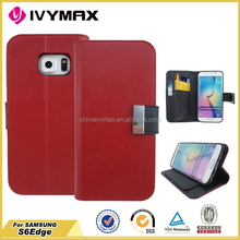 For samsung S6 Edge leather case PU+TPU China manufacture phone case