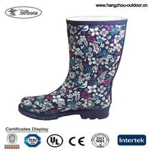 Ladies Festival Flower Rubber Rain Boots Wellingtons