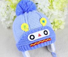 Cute cartoon baby knitted cap, warm hat for newborn baby, winter baby cap