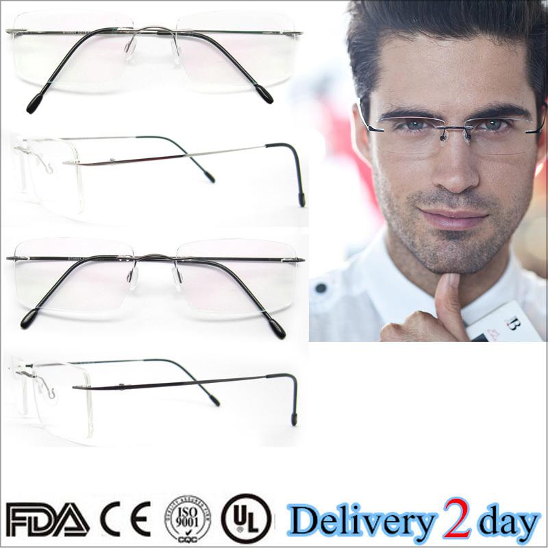 Lo nuevo de titanio anteojos sin montura marco Super Flex hombres ...