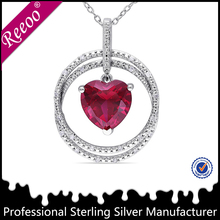 Diamond and ruby Necklace 14K white Gold Jewelry