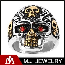 gold plated stainless steel red cubic zirconia skull ring