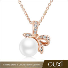 OUXI 2015 Latest design chain gold fashion pearl necklace 11292-1