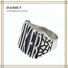 Large stock Wholesale 316l Stainless Steel Biker Ring Biker Club Fashion Jewelry for man Black Gothic Ring