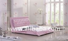 US DOUBLE SIZE PINK LEATHER BED WITH DIAMONDS(PC7RO#)