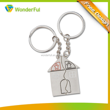 Customized Blank House Shape Car Metal Keychain