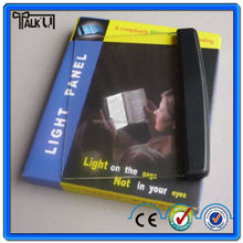 Portable flat panel reading led book light with 3X Partial Magnifier/Dimmer Switch, foldable in your book led small night light
