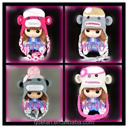 monkey pattern fancy crochet baby caps and hats