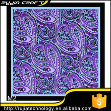 "Chinese seller New 12"" 100% Silk Pocket Square Men's Handkerchief Purple Blue Paisley"