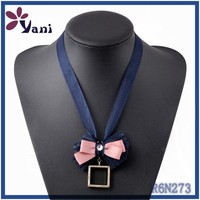 Beautiful Colors costume jewelry new york, 2015 latest design locket necklace,Bow design pink ribbon necklace