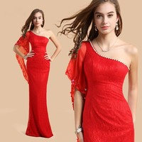 2015 Free Shipping New Arrival Plus Dresses long design fish tail formal Prom evening dress costume size wedding party dress