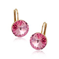 Charm Girl genuinos grandes pendientes de cristal de color rosa de diamantes